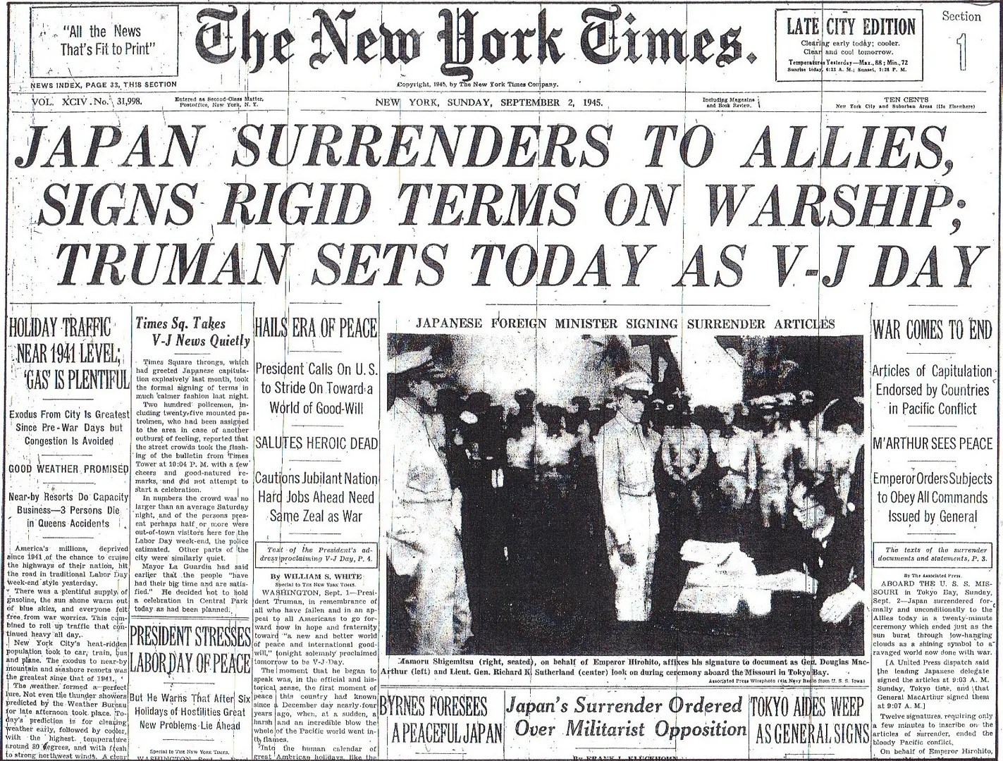 Japan Surrenders To Allies Signs Rigid Terms On Warship Truman Sets Today As V J Day 9 2 45