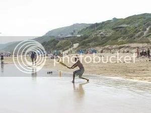 Flood tide cricket on the Fairhaven surf beach, Victoria, Australia in Jan 06