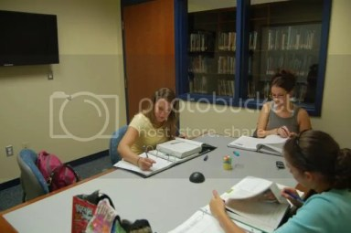 Students using group study room