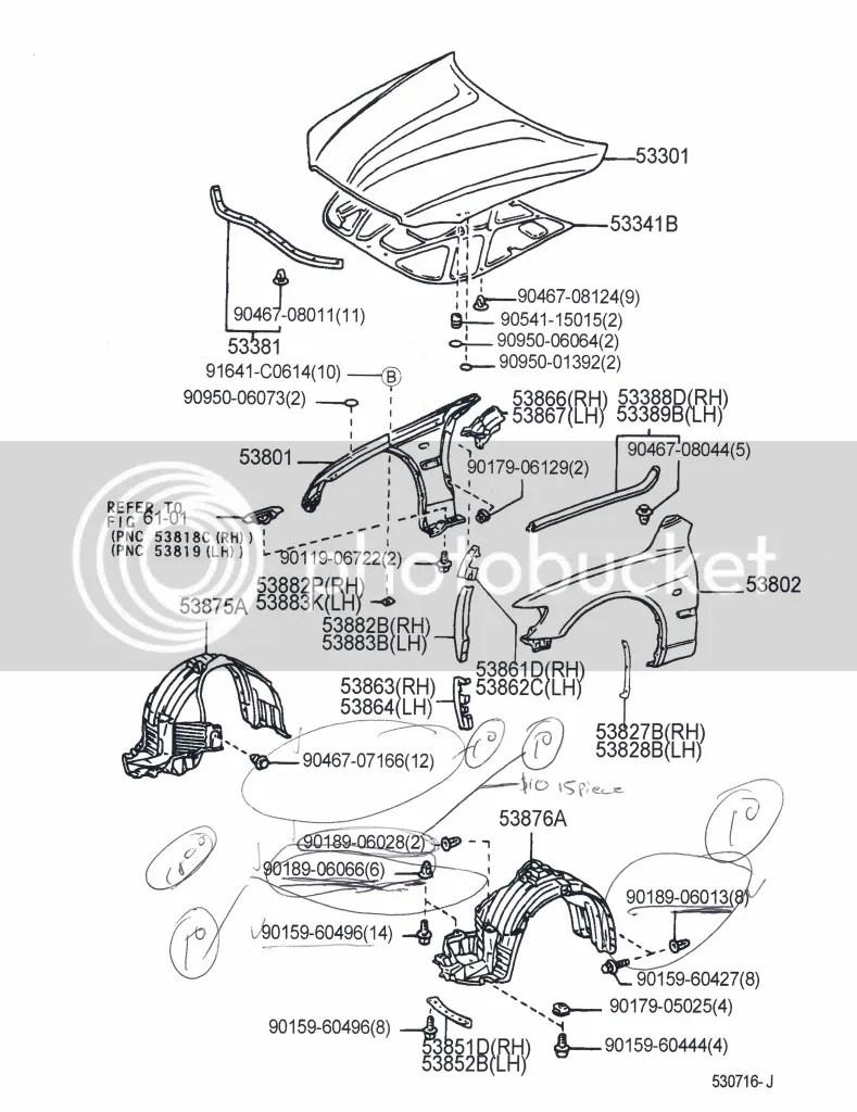 fasteners, clips, etc. trunk, fender liner, etc! diagrams