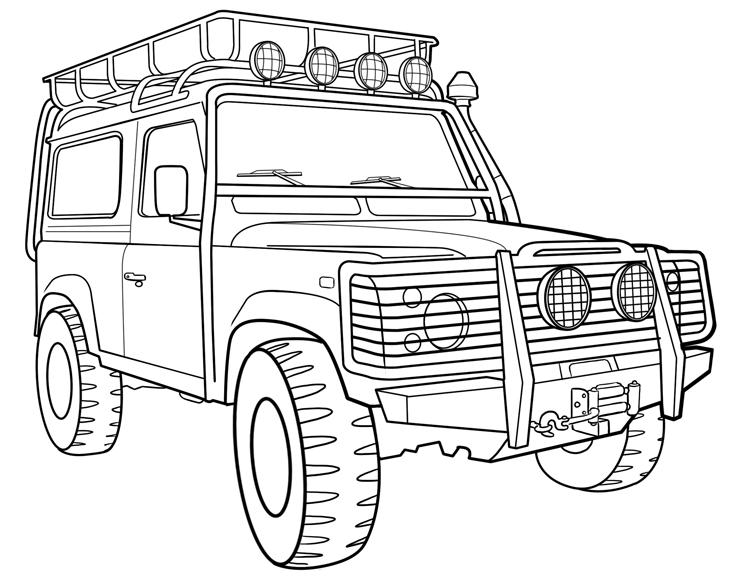 Free coloring pages of land rover defender