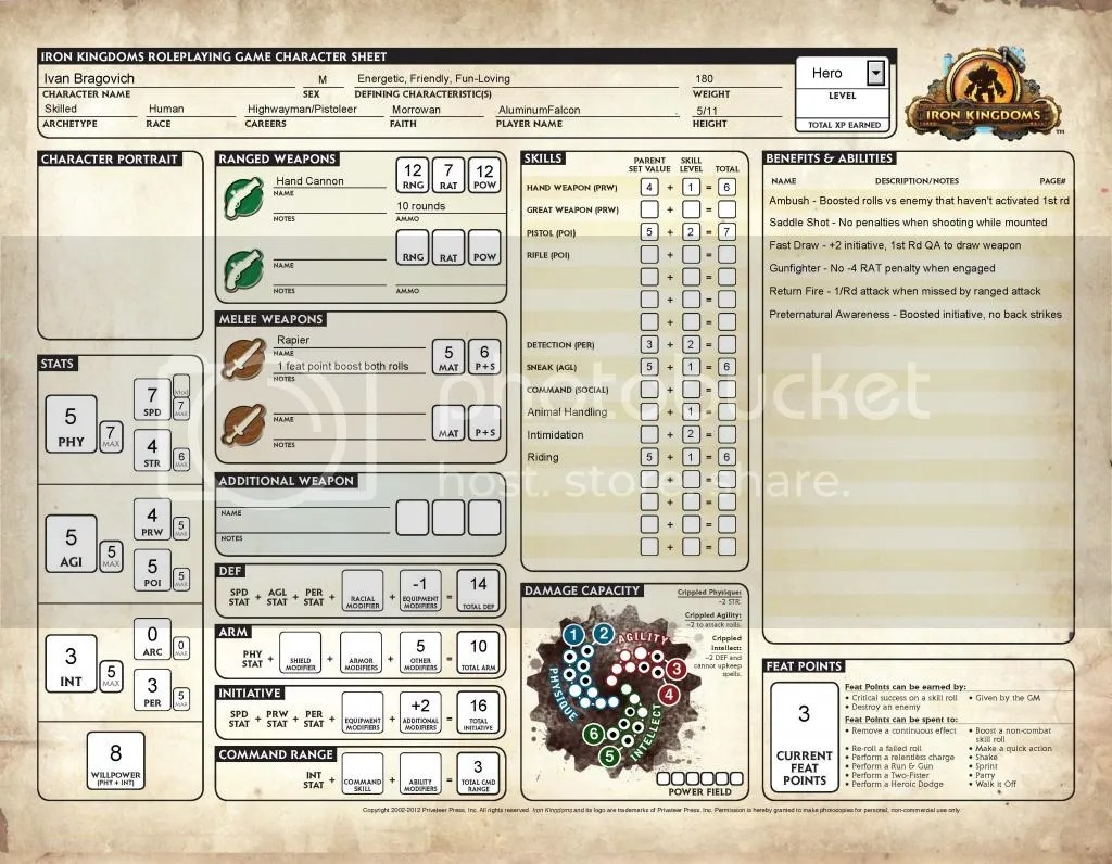 Iron kingdoms unleashed character sheet fillable