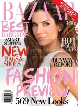 Sandra Bullock doesnt look bad, but this cover has convinced me that the graffiti font just doesnt work for Bazaar