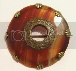 Vintage Victorian edwardian scottish agate brooch jewellery, with stunning metal scroll patterns