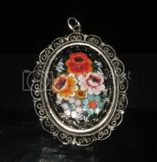 Vintage 1950s micro mosaic glass flower filigree pendant jewelry black