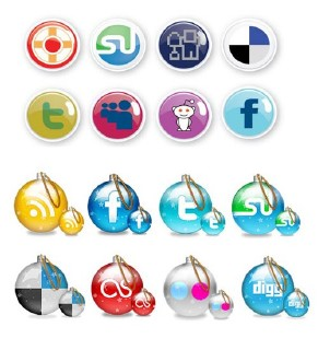 Christmas Ornament Social Icons Set. PSD, AI