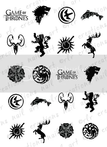 20 NAIL DECALS * GAME OF THRONES HOUSE SIGIL / CRESTS