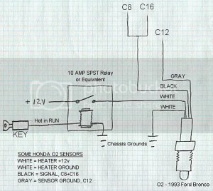 how to wire a 4 wire o2 sensor in a cx with one wire