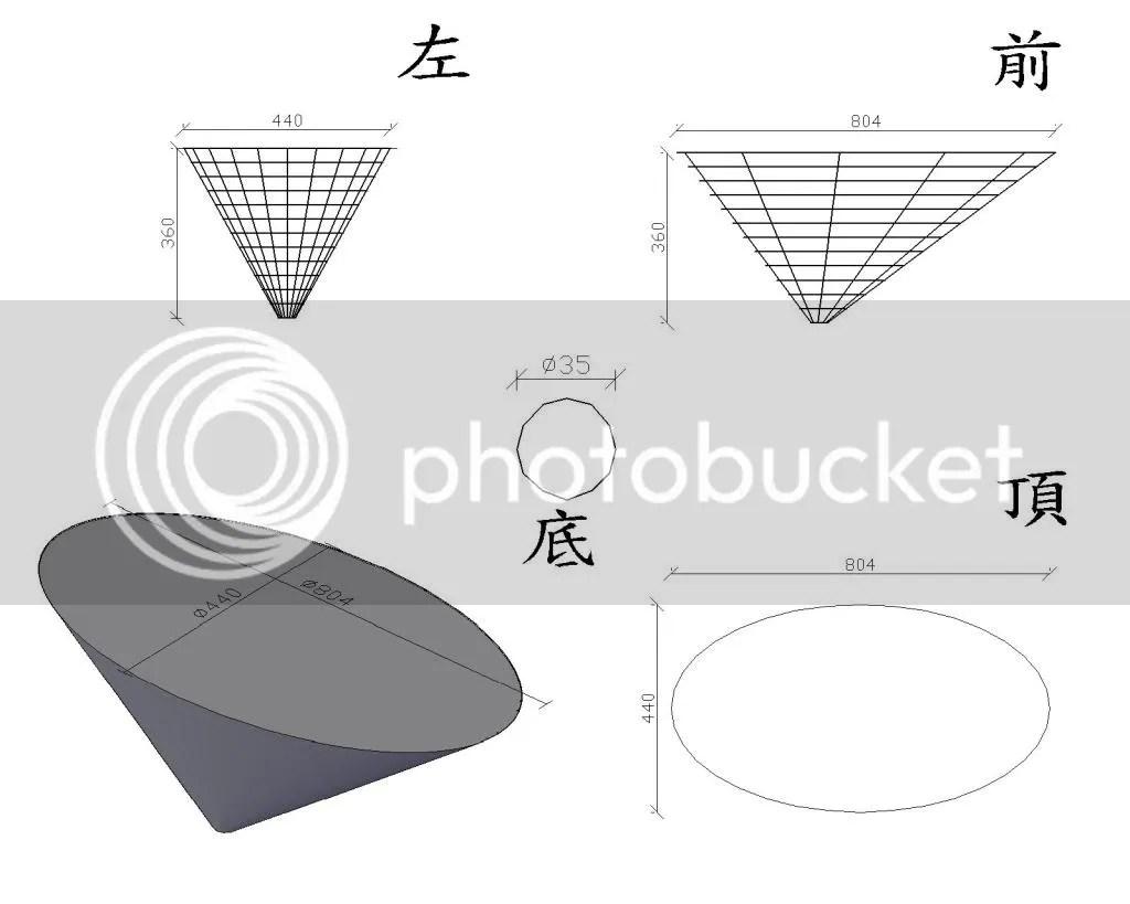 [討論]請教橢圓+正圓錐體的展開圖要如何畫~