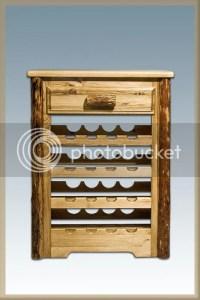 Log Cabin Lodge Furniture Rustic Solid Pine Wine Rack