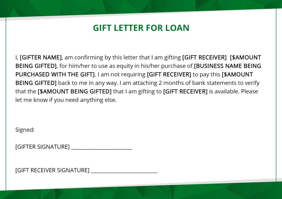 Gift Letter Example.Using A Gift As Equity For An Sba Deal Institute For