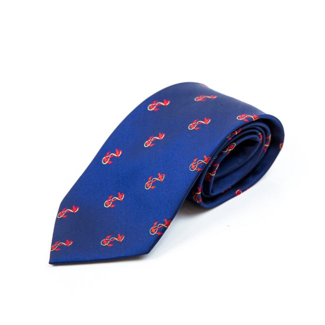 Blue rolled tie with orange anchor embroidery logo