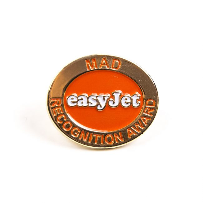 Gold and orange EasyJet logo award badge