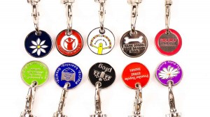 personalised trolley coin, custom trolley coins, charity trolley keychains