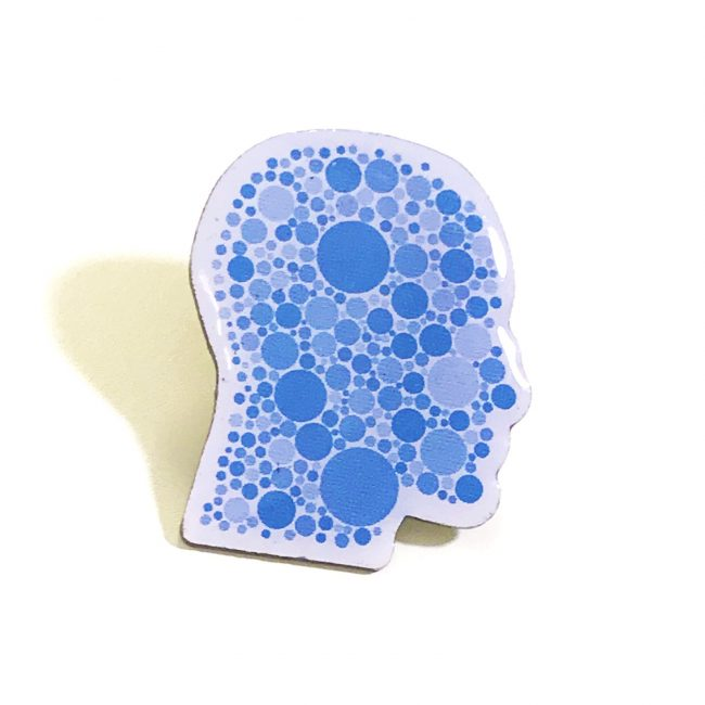 Blue Head Shape Printed Badge