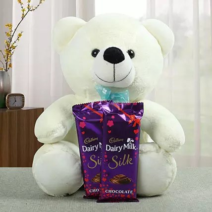 Lovable Teddy With Chocolate Gift Lovable Teddy With