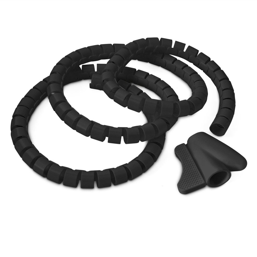 hight resolution of  black 2 metre cable tidy kit pc tv wire organising wrap tool spiral office home