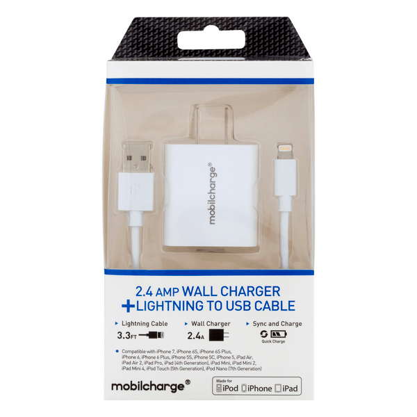mobilcharge wall charger lightning cable