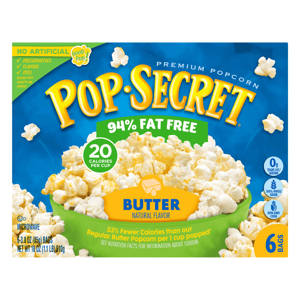 pop secret microwave popcorn butter 94 fat free