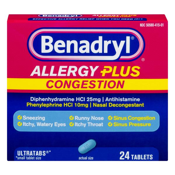 Save on Benadryl Allergy Plus Congestion Antihistamine ...