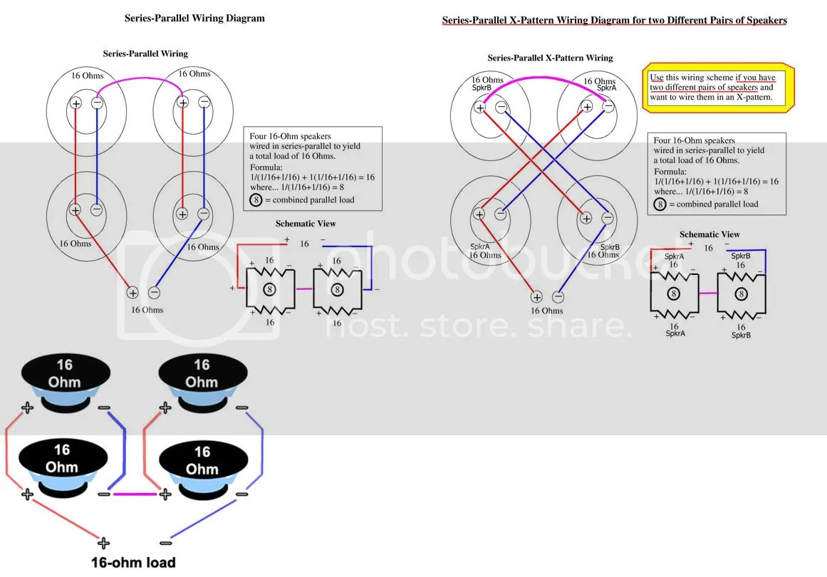 wiring speakers in parallel diagram 2015 silverado 4x12 speaker 16 ohm series cabinet