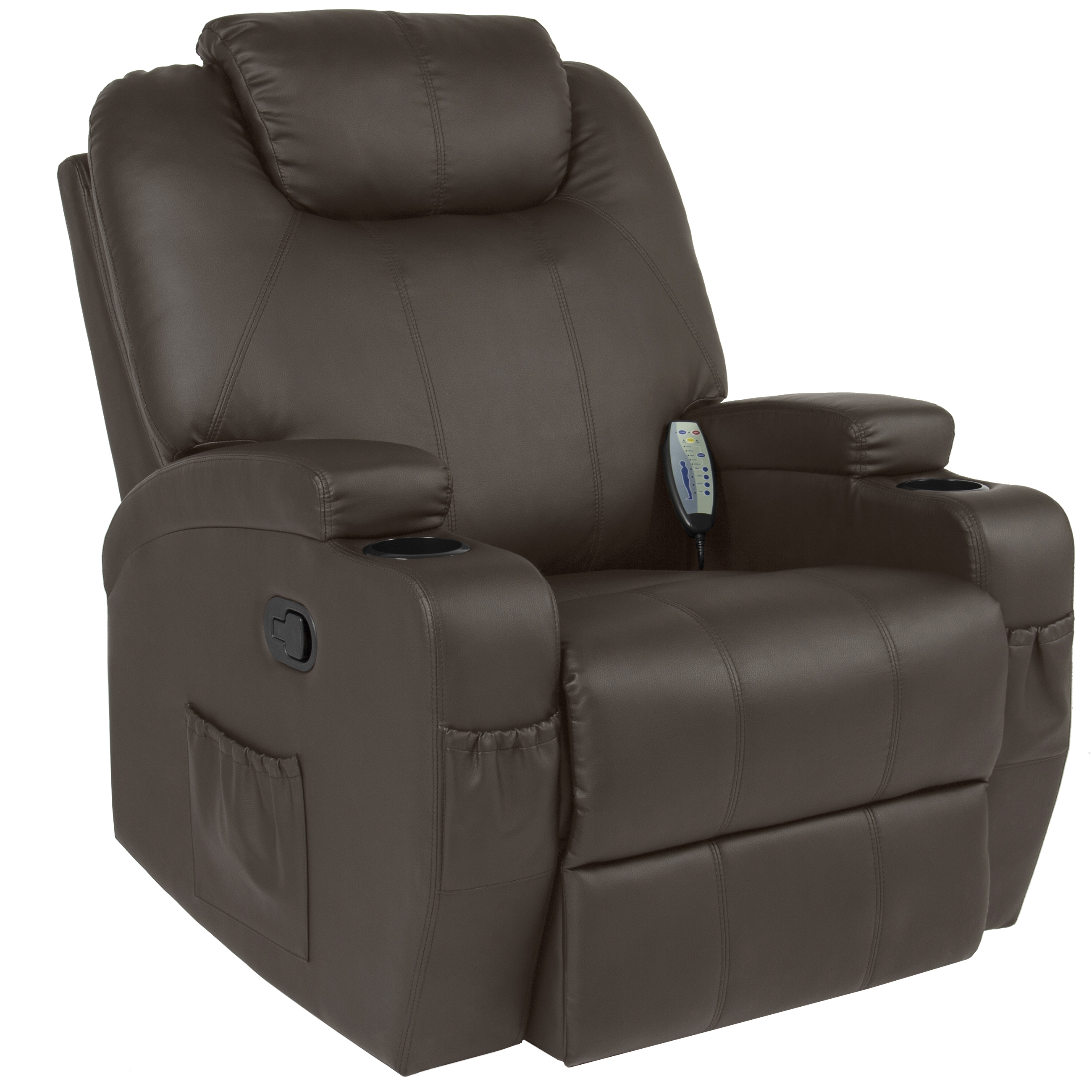 chairs that swivel and recline car chair covers amazon recliner best choice products executive pu leather electric massage w remote control