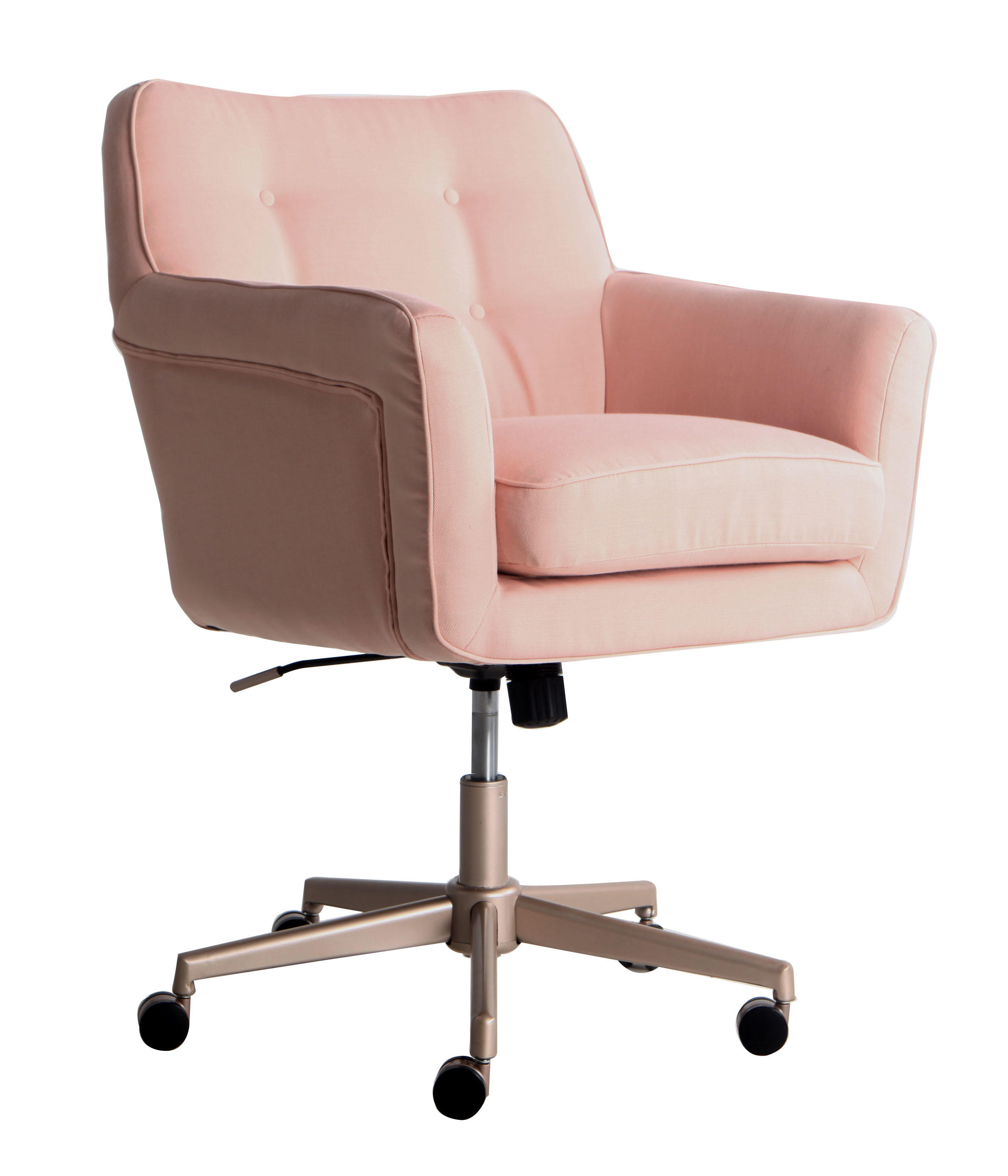 desk chair pink white hanging egg with stand chairs serta style ashland home office blush twill fabric