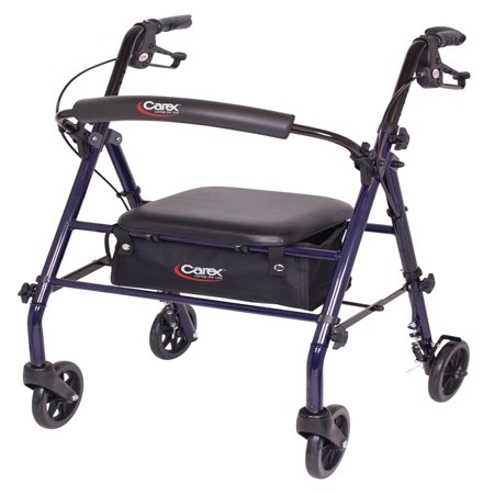 walker roller chair glider rocking cushions uk carex steel rollator with seat and wheels includes back support rolling for seniors walmart com