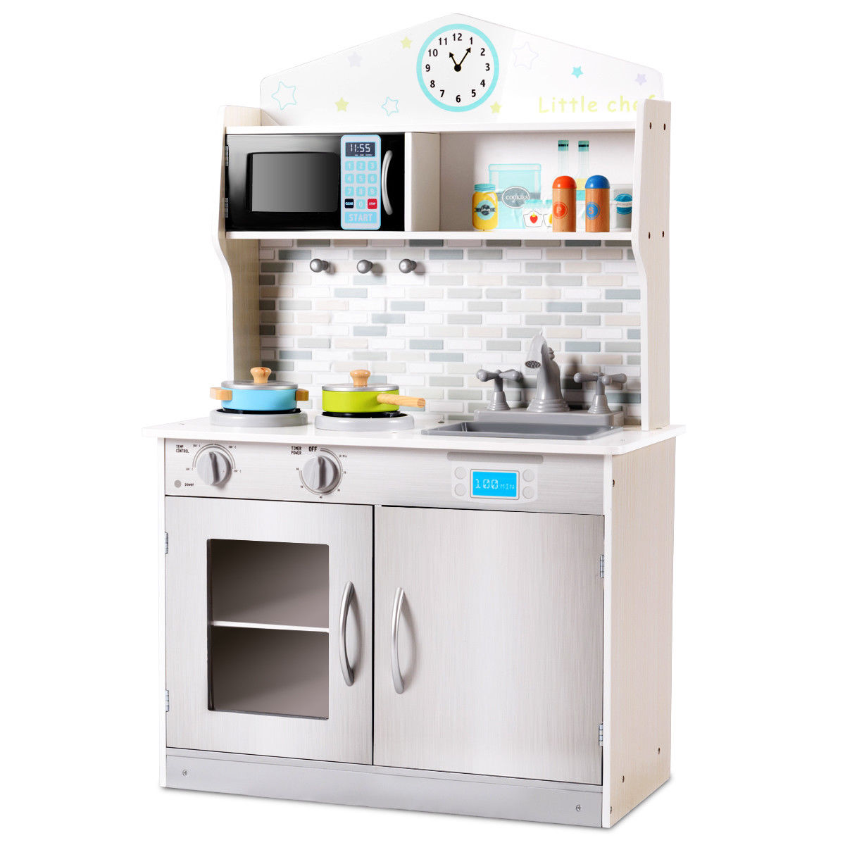 toddler play kitchens inexpensive kitchen cabinets sets gymax kids wooden pretend cooking playset cookware set toys gift