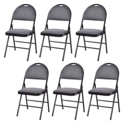Black Padded Folding Chairs Cheap Racing Chair Costway Fabric Set Of 6