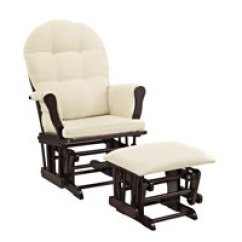 Nursery Rocking Chair Walmart Chairs On Wheels Uk Gliders Com Product Image Angel Line Windsor Glider And Ottoman Espresso Finish Beige Cushions
