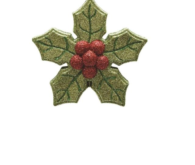 Merry Bright Green And Red Glitter Shatterproof Poinsettia Christmas Ornament