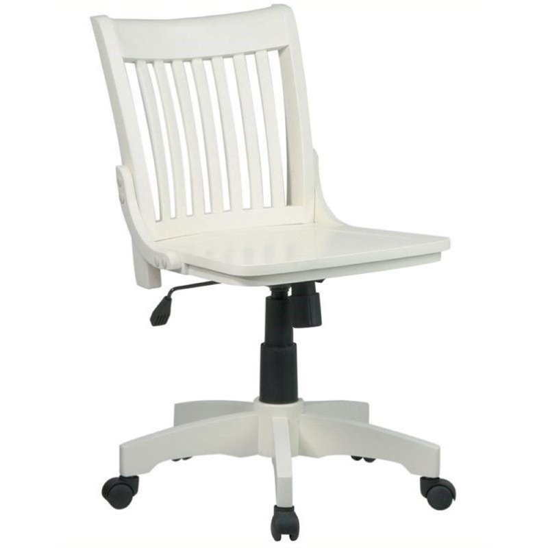 wooden white desk chair target stretchy covers office chairs bowery hill armless wood banker s in antique