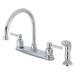Kitchen Faucets With Sprayer Bench Back Faucet Sprayers Kingston Brass Concord Fb791dlsp 8 Centerset Gooseneck Spout Polished Chrome Abs