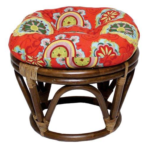 papasan chair stool cushions gym accessories 18 inch bali rattan footstool with cushion print outdoor fabric farmington terrace