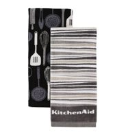 gray kitchen towels small table and chairs for two walmart com product image kitchenaid utensils stripe set of 2