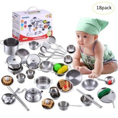 Kids Kitchen Toys Single Handle Faucets Sets 18pcs Chef Set For Role Play Toy Children Cooking Utensils House Super