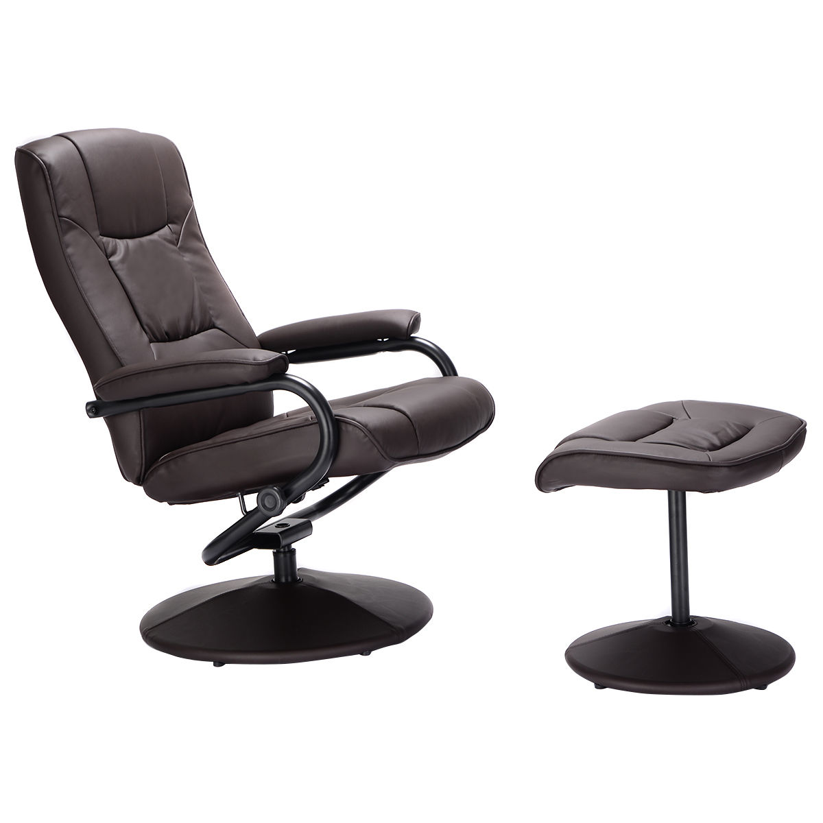 leather swivel recliner chair and stool ikea lounge chairs ghp brown pu armchair with footrest