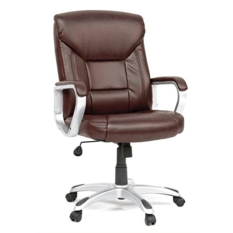 desk chair brown leather narrow executive chairs bowery hill office in