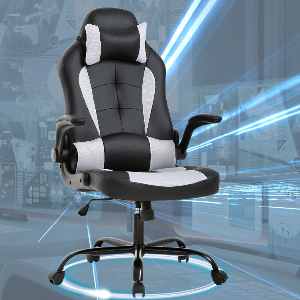 white rolling chair phil and ted lobster recall chairs gaming office high back pu leather racing reclining computer executive desk