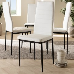 White Leather Chairs Dining Ergonomic Kneeling Chair Nz Set Of 4 Baxton Studio Armand Modern And Contemporary Faux Upholstered