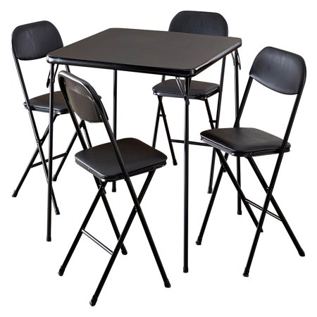 cosco card table and chairs recall black chair covers with pink sash 5 piece set walmart com