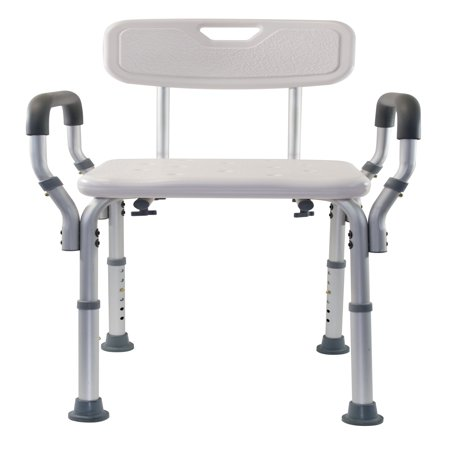 shower chair with wheels and removable arms reclining office footrest india essential medical supply adjustable molded back walmart com