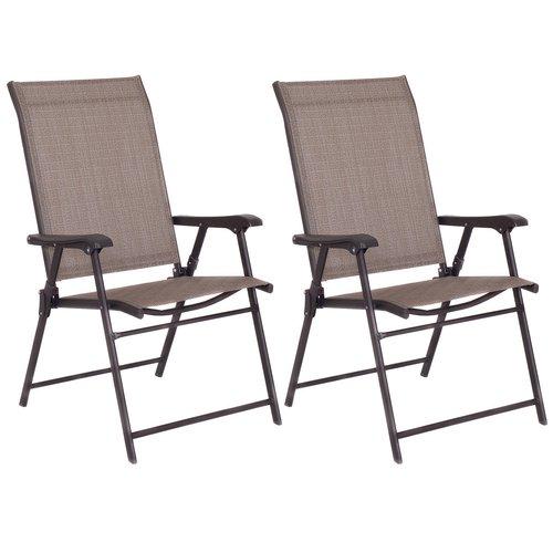 patio folding chair hanging karachi costway camping deck garden sling fabric set of 2