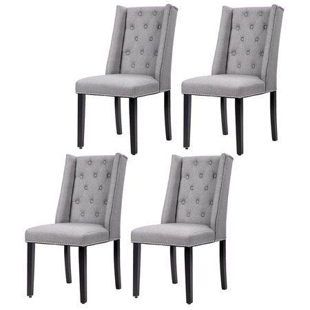 fabric side chairs cotton wedding chair covers hire set of 4 grey elegant dining button tufted w nailhead 54b walmart com