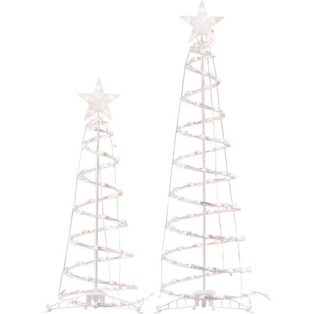 Holiday Time Light-Up Clear Spiral Trees, Set of 2, Indoor