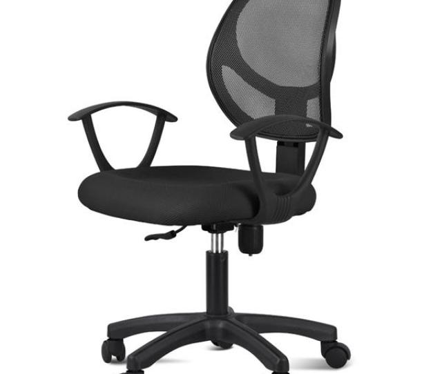 Adjustable Swivel Computer Desk Chair Fabric Mesh Office Chair With Arms Seating Back Restblack