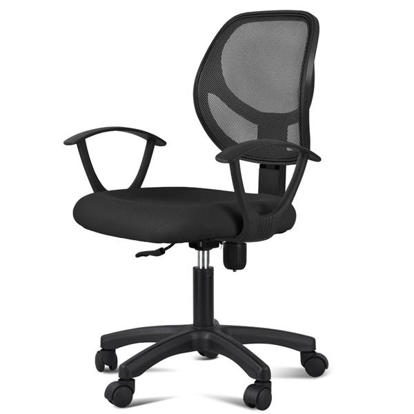 swivel chair office warehouse white fir barber rolling chairs adjustable computer desk fabric mesh with arms seating back rest black