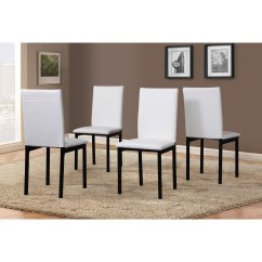 White Leather Chairs Dining Rocking Chair Gliders For Nursery Roundhill Noyes Faux Seat Metal Frame Set Of 4
