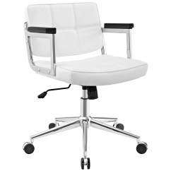 Modern White Desk Chair Patio Sling Replacement Office Chairs Contemporary Urban Design Work Home Mid Back Faux Leather